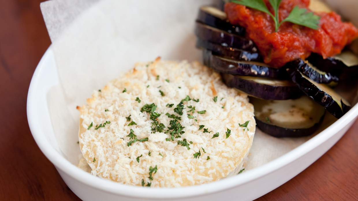 eggplant and camembert