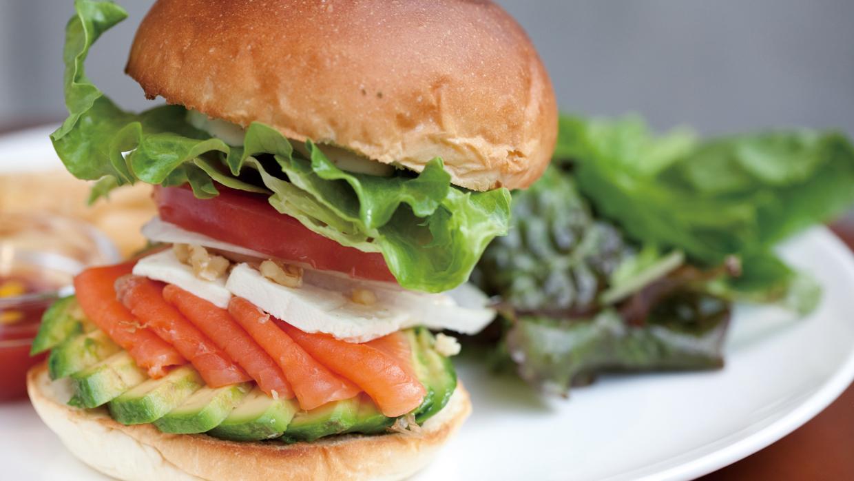 The French hamburger of smoked salmon